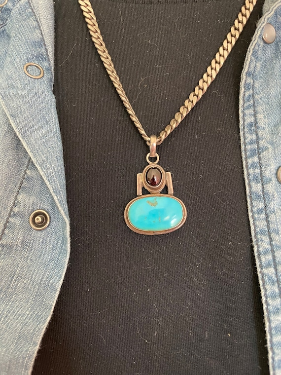 vtg Sterling Turquoise and Amethyst Pendant