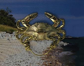 14 Karet Gold Plated Brass Crab Magnetic Eyeglass Holder Or Brooch