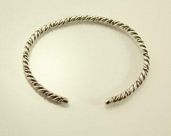 Vintage Sterling Silver Twisted Wire Cuff Bracelet no 7