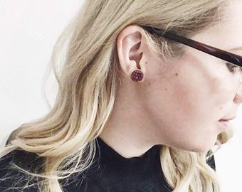 merlot stone studs earrings