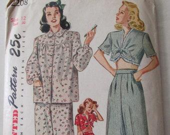 bd2ba1fe1fcfd Vintage 1940s Simplicity 2208 Long and Short Pajamas Sewing Pattern Size 12  Bust 30