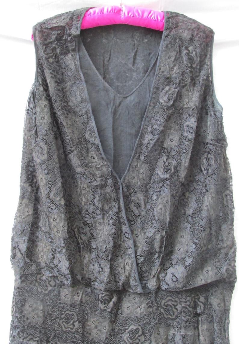 Sale  Vintage 1920s FLAPPER DRESS Black Lace Dress Drop Waist Asymmetrical Skirt