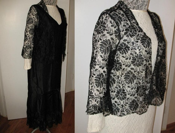 Vintage 1920s Black Satin and Lace Long Dress Flap