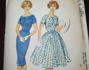 """Vintage 1950s McCall's 4884 Misses DRESS Slim or Full Skirt Sewing Pattern Size 16 Bust 36"""" New / Uncut"""