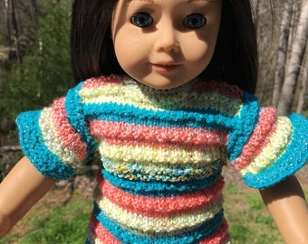 """Short sleeves sweater first you AG doll  and any 18""""doll"""