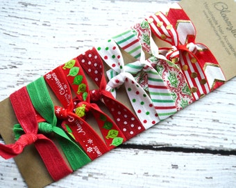 Exclusive 10 pcs Xmas Elastic Hair Tie- Red Green Merry Xmas Set -Christmas Holidays Gift  - Christmas Hair Ties Set -Toddler to Adult d7ca525b23a