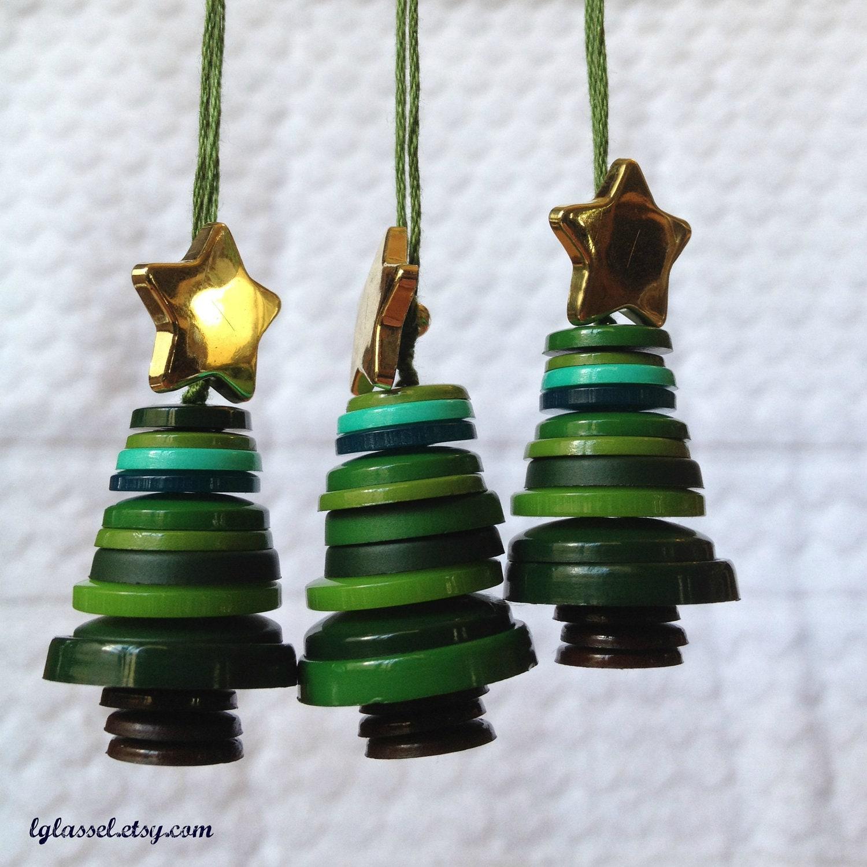 Button Christmas Trees: Button Christmas Tree Ornaments Set Of 3