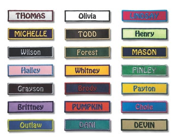 1 by 4 Name Patch Personalized Patch Custom Patch Embroidered Iron On Patch with VELCRO® Brand Fastener Available