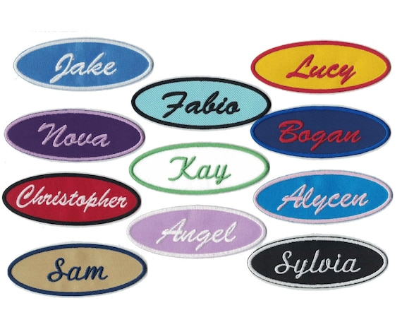 TAYLOR NEW EMBROIDERED SEW IRON ON NAME PATCH BLUE ON WHITE  1.5  X 3.5