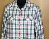 1950s Wool Shirt Blouse Top Jacket Unlined Pink Gray Plaid Long Sleeve Large Bust 42