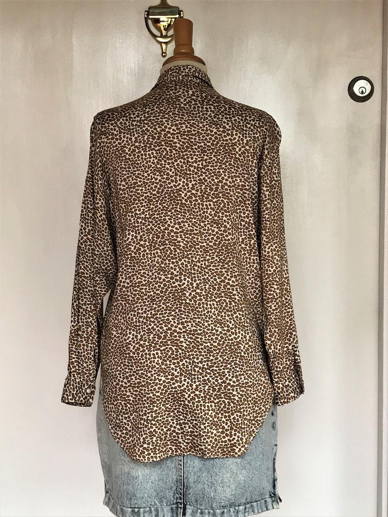 Longsleeve Loose Fit Bust 40 Leopard Print 1990s Rayon Blouse Size S Lemon Clothing Co