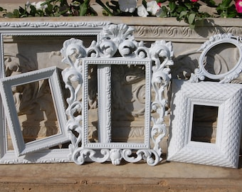 Set Of 5 White PICTURE FRAMES - Gallery Wall Frames - Shabby Chic Frame Set - Vintage Farmhouse Rustic Picture Frames