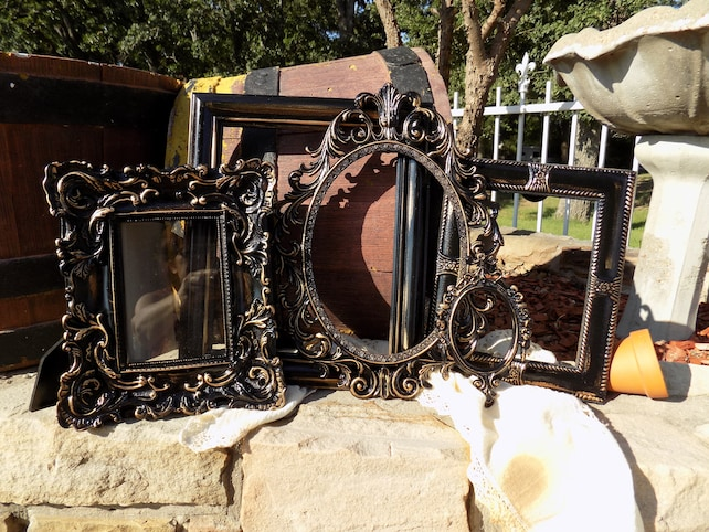 Black And Gold Ornate Vintage Picture Frames Gallery Wall Etsy