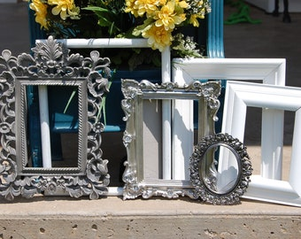 White And Silver Picture Frames - Gallery Wall Picture Frame Set - Wedding - Shabby Chic Frame Collection