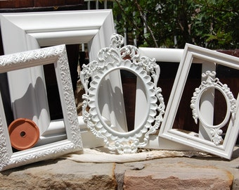 Rustic Shabby Chic White Frames - Set of 6 Farmhouse Distressed Frames - Cottage Chic Frame Set - Nursery Frame Set