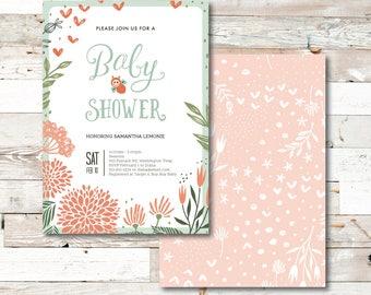 Baby Bee Baby Shower Invitation - Baby Shower - Invitation - Baby Shower Invitation - Baby Bee - Floral - Flowers - Bee - Shower Invitation