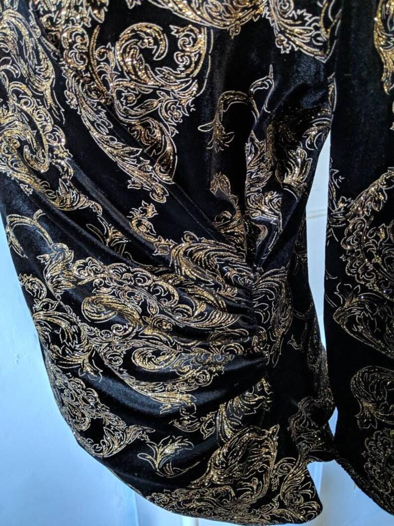 90sY2K Gold Glitter Black Faux Wrap Velvet Blouse Size 14 Extra Large