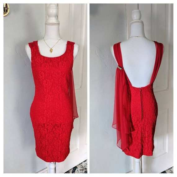 90s Red Lace Cocktail Dress Brooch Size SmallMedium 7 Sash