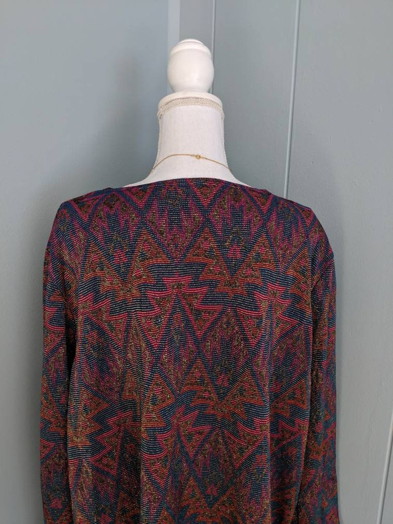 90s00s Tribal Geometric Shimmer Metallic Top with tag attached Long Sleeve Multi-color Size 2X
