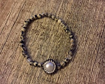 Embellished pearl snakeskin jasper bracelet