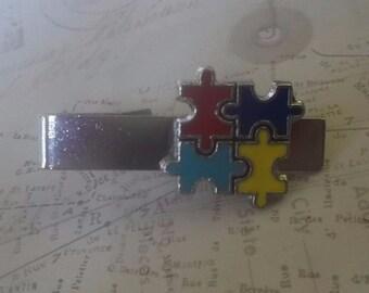 Autism Awareness Tie Clip Autism Puzzle Piece Tie Clasp Autism Tie Bar NEW