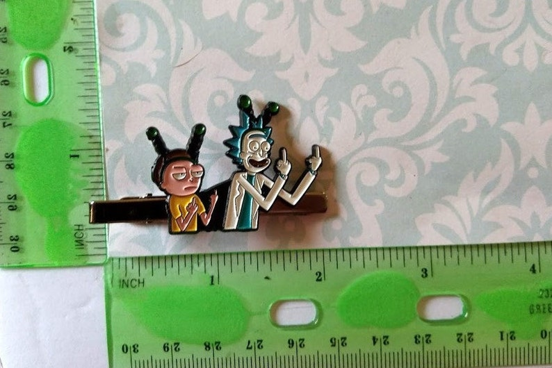 Rick and Morty Tie Clasp Funny Cartoon Animation TV show Tie Clip Mad Scientist Rick Tie Bar Great Gift for Him Halloween Christmas Gift