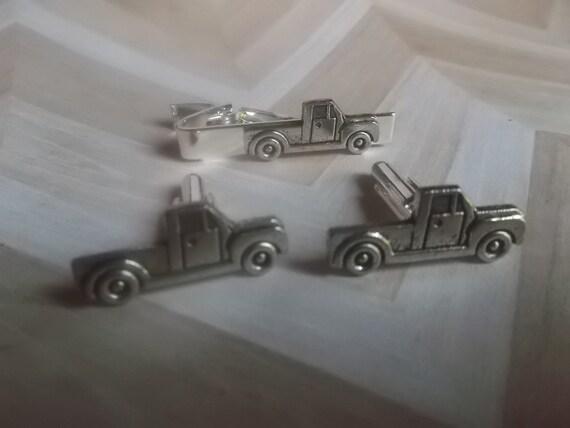 Vintage VAN Truck Tie Clip Silver Plated Metal Tieclip New Old Stock