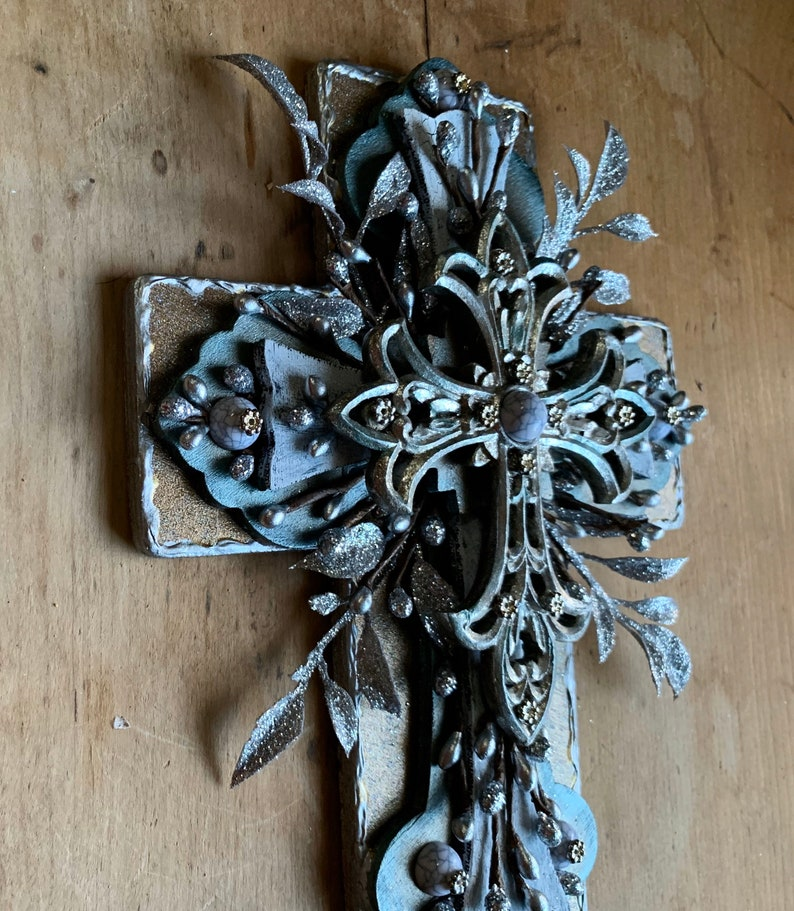 Cross recycled art Cross My Art By Lynn Webb religious gift one of a kind unique gift Christmas glittered