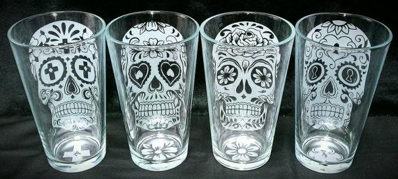 Sugar Skull Custom Etched 16 Oz Drinking Glasses Set Of 4