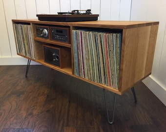 Mid Century Modern Record Player Console Turntable Stereo Cabinet With Album Storage Quartersawn White Oak