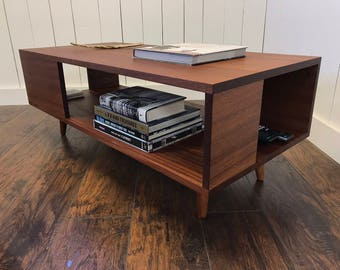 Solid Mahogany Coffee Table Fat Boy Mid Century Modern Coffee Etsy - Mid century modern coffee table with storage