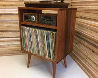 Solid Mahogany Record Player Stereo Console Turntable Stand With Album Storage Mid Century Modern Audio Rack