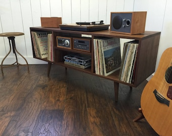 record player furniture free standing solid walnut turntable console record player cabinet album storage mid century modern stereo console with vinyl record cabinet etsy