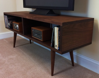 Genial Solid Walnut TV Stand And Media Console. Mid Century Modern Media Cabinet.