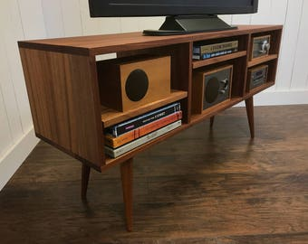 Solid Mahogany TV Stand Stereo Cabinet Or Media Console Mid Century Modern With Tapered McCobb Legs