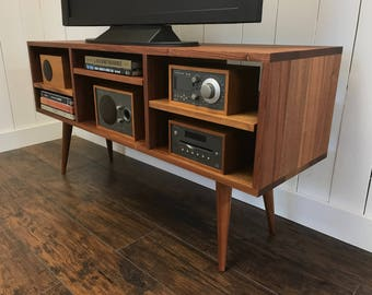 Mid Century Modern TV Stand Stereo Cabinet Or Media Console Solid Mahogany With Natural Finish