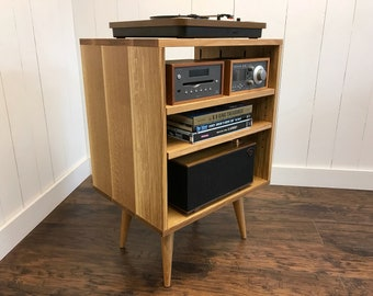 Quartersawn White Oak Turntable Stand. Mid Century Modern Stereo Cabinet.