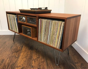 Solid Mahogany Turntable Cabinet With Album Storage. Mid Century Modern Record  Player Console With Vinyl Storage.
