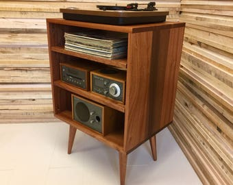 Solid Mahogany Record Player Console Stereo Cabinet Album Storage Mid Century Modern Turntable Stand With Vinyl