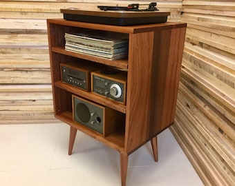 Exceptionnel Solid Mahogany Record Player Console, Stereo Cabinet, Album Storage. Mid  Century Modern Turntable Stand With Vinyl Storage.