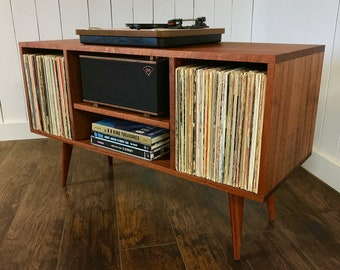 turntable furniture modern solid mahogany turntable console with album storage mid century modern record player cabinet vinyl turntable furniture etsy