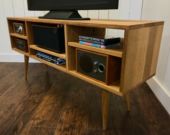 Mid Century Modern Tv Stand Stereo Cabinet Or Media Console Quartersawn White Oak With Natural Finish