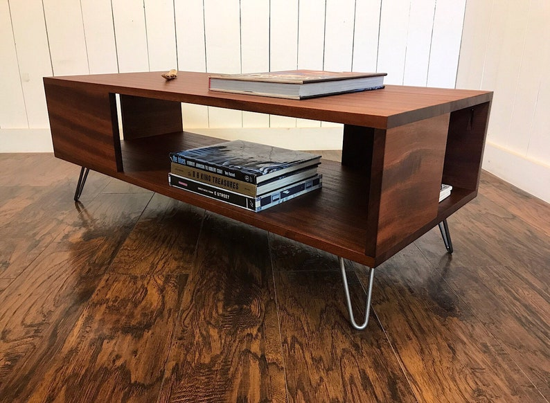 Solid Mahogany Coffee Table. Fat Boy Mid Century Modern Coffee Table With  Storage.