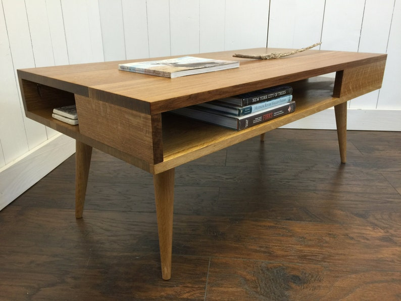 Beau Thin Man Mid Century Modern Coffee Table With Storage, Quartersawn White  Oak With Tapered McCobb Legs.