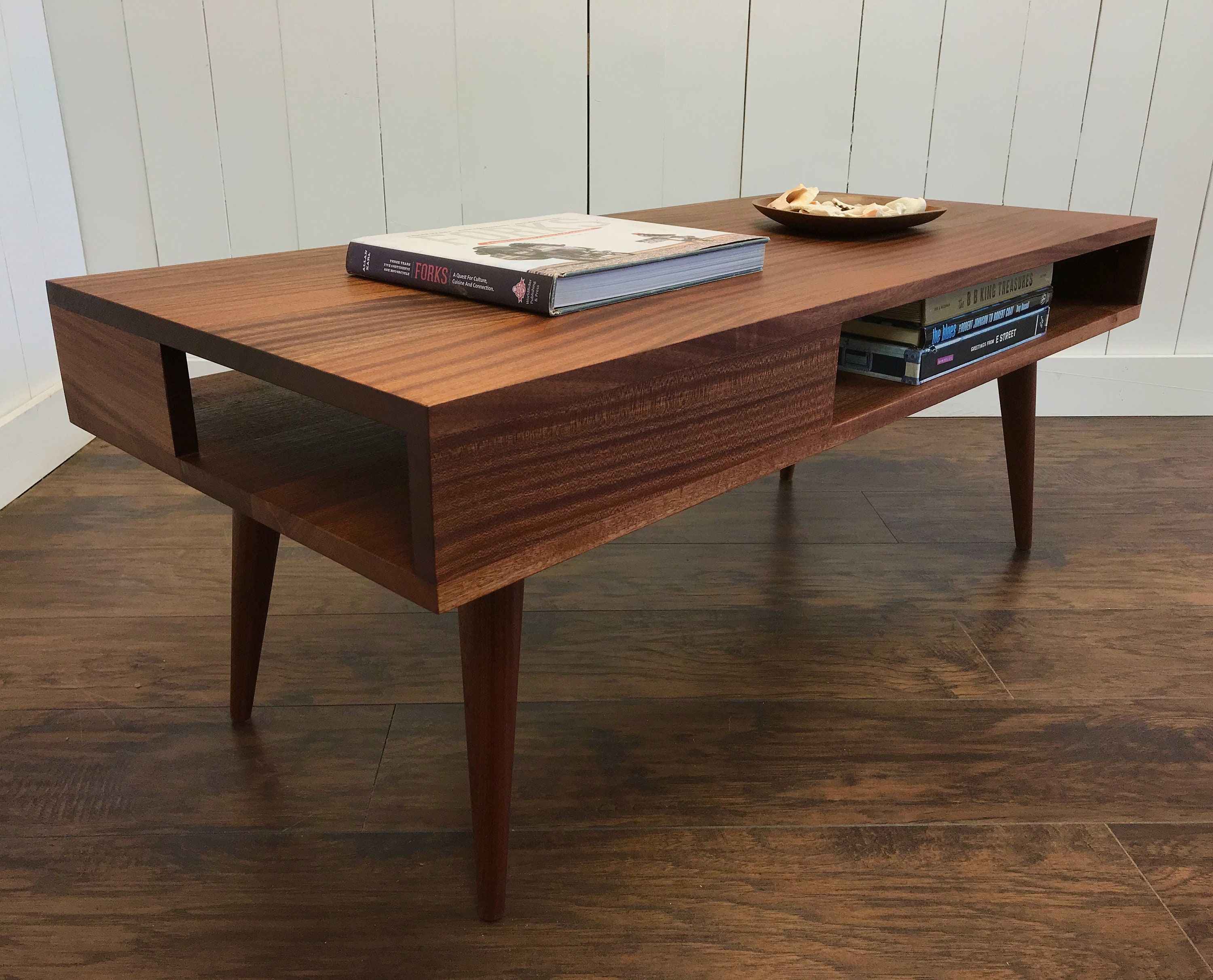 Superbe Solid Mahogany Coffee Table. Thin Man Mid Century Modern Coffee Table With  Storage.