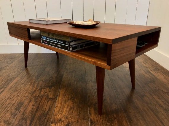 Solid Mahogany Coffee Table. Thin Man Mid Century Modern Coffee Table With  Storage.