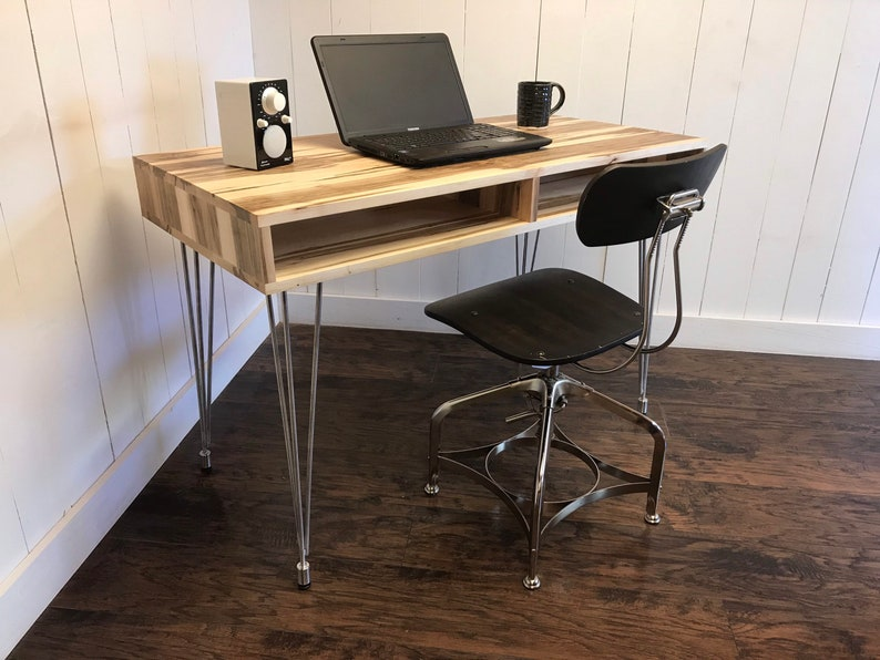 Solid Maple Computer Desk. IN STOCK. Boxer Mid Century Modern Desk With  Storage. Contemporary And Steel Desk.