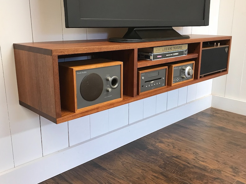 Solid mahogany floating media console  Wall mounted tv and video cabinet
