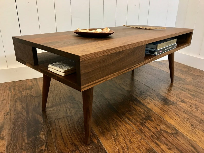 Solid Walnut Coffee Table Thin Man Mid Century Modern Coffee Etsy