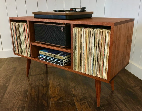 Solid Mahogany Turntable Cabinet With Album Storage Mid